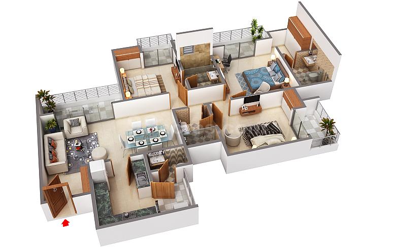 3 BHK Flat in Godrej Nest floor plan 1,367.0166229221347 sq.ft. (127 sq.m.)